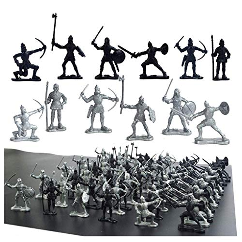 60 pcs Medieval Soldiers Military Figures Toy Ancient Roman Soldiers Figures Statues Middle Ages Army Infantry Archer Warriors Model for Kids