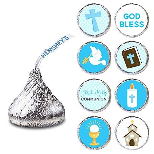 Etichetta per prima comunione bambino per cioccolatini HERSHEY'S KISSES® - Adesivo Candy blu - Set di 240