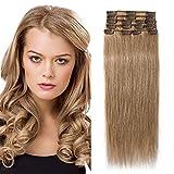 SEGO Rajout Humains Froid Extension Clip Blond Cheveux Naturelle Vrai Mèche Bande pas Cher [Volume Léger] 35cm - 27#Blond Foncé