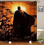 ZZZdz Großer Batman Und Viele Fledermäuse. Wasserdicht. Einfach Zu S?Ubern. 12 Freie Haken. 3D-Hd-Druck. Nicht Verblassen. Duschvorhang 180X180 cm.
