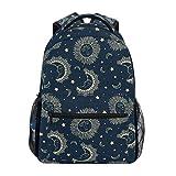 Backpack Celestial Moon Sun Star Pattern Canvas School Bags Laptop Daypack