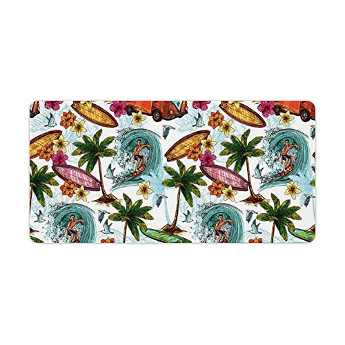 Extended Gaming Mouse Pad with Stitched Edges Large Keyboard Mat Non-Slip Rubber Base Hawaiian Surfer on Wavy Deep Sea Retro Style Palm Trees Flowers Surf Boards Desk Pad for Gamer Office 12x24 Inch