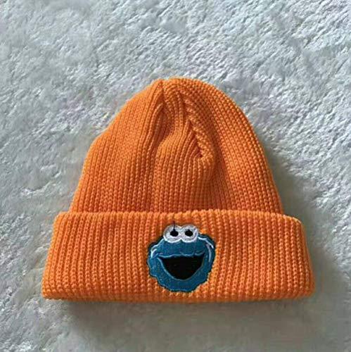 anyuq66qq Chapeau d'hiver Broderie Bande Dessinée Weeping Frog Enfants Bonnet Tricoté Autumnskullies Bonnets Pompom Woolen Hat pour Enfants, Orange, 48-52Cm