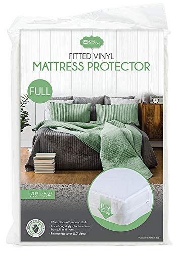 "Home Expressions White Fitted Vinyl Mattress Protector 11.5"" Deep 78""x54"" (Full)"