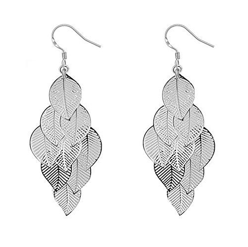 Cosanter 1 Paar Silber Damen Ohrringe Mode Blätter Ohrringe für Frauen Vintage Blatt Ohrringe Geschenk
