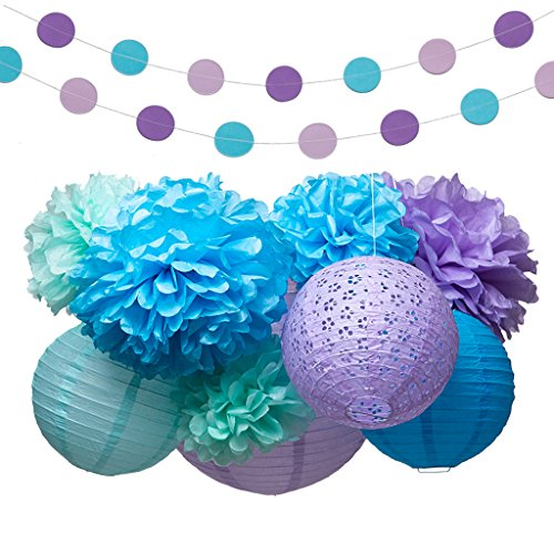 Jmay Mermaid Under The Sea Party Supplies Decorations Tissue Paper Pom Poms Lantern Garland Kit for Baby Shower Bridal Shower 16
