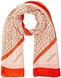 calvin klein scarf sciarpa con logo ck allover, arancione bruciato, etichettalia unica donna
