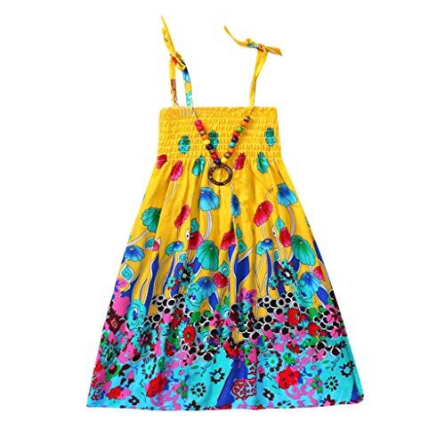 Moneycom - Vestido de tul chic, ceremonia, para niña, niña, niña, niña, vestido floral, vestido de correas de playa bohemio amarillo 3-4 Años