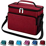 【Durable Material】- This insulated lunch bag is made of high quality tear and water resistant oxford fabric,heavy duty metal zippers and enhanced by bar-tacks at major stress points provide long-lasting durability against daily activities. 【Leakproof...