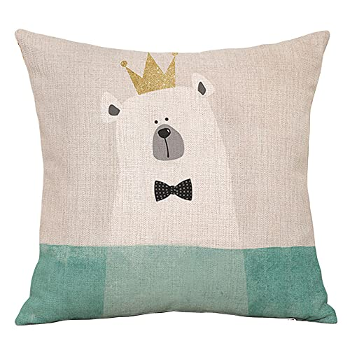 YINGZG Cushion Covers 45x45cm 18x18 Inch Cartoon Animals Square Throw Pillow Case Linen Cotton Cushion Covers with Invisible Zipper Decorative Cushion Covers for Sofa Bedroom Z1579