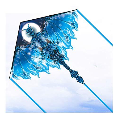 Cometa para niños Adultos Fuego de hielo Dragón Principiante, fácil de volar mejor la mejor cometa de dinosaurios de alta gama con 330 pies de cadena de kite para juegos de al aire libre Actividades H