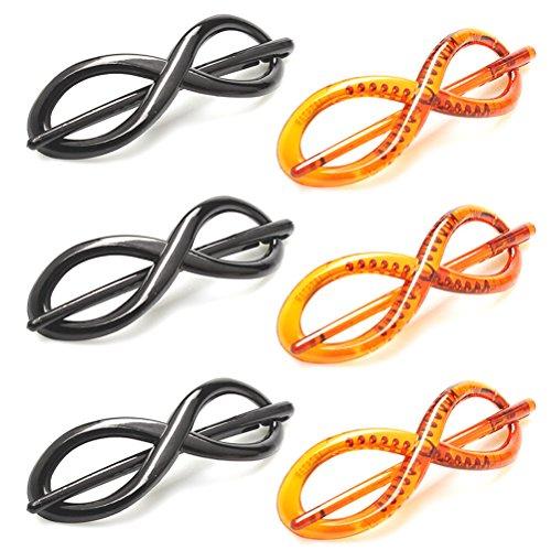 frcolor Clip Haarspange mit Stab aus Kunststoff für Dekoration von Haar in schwarz und braun 6pcs
