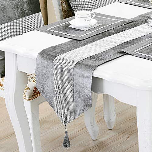 HeMiaor 13x72 Zoll Strass Tischläufer Pailletten Strass Tischdecken, Elegante Tischdekoration für Hochzeit Danksagung Weihnachten mit Diamante Streifen und Quasten, Grau