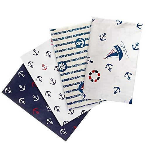 Faden & Nadel 4 martime Baumwollstoffe : jeweils 50 x 40 cm in blau, weiß und rot (maritimes Muster: Anker, Leuchttürme und Rettungsringe)