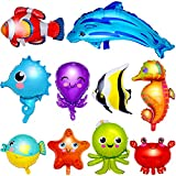 10 Pieces Ocean Animals Foil Balloons Large Ocean Animals Balloons Cartoon Fish Balloons Foil Balloons for Boys and Girls Birthday Ocean Themed Party Decorations, Baby Shower, 10 Styles