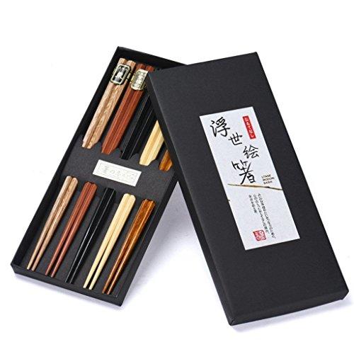 5 Paar Essstäbchen Japanische Natur Chopsticks aus umweltfreundlichem hölzernen in edler Schatulle Geschenkbox (Hexagon)