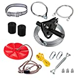 Upgraded 120 Foot Ziplines for Backyards with Seat and Spring Brake, Zip Line Kit Come with Easy-to-Install Trolley and Safety Belt, Up to 250lb (Black)