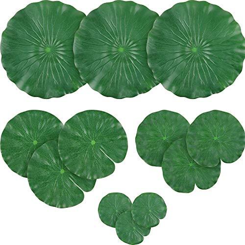 WILLBOND 12 Stück 4 Arten Künstliche Lotusblätter Schwimmender Schaum Ornament Lilie Pads Laub Teich Dekor Wasserlilie Blätter für Patio Koi Fischteich Pool Aquarium Dekoration