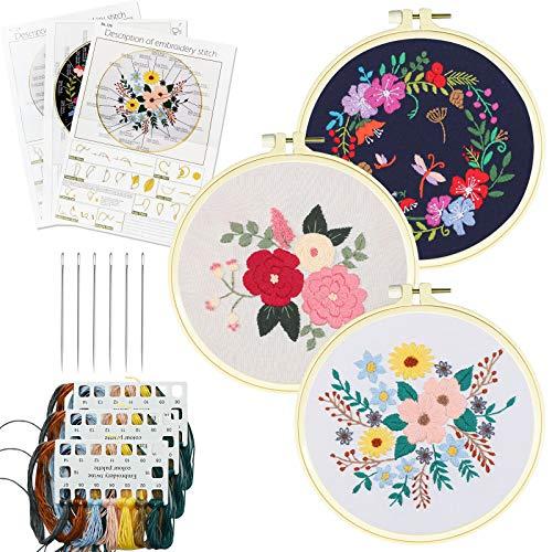 Anfänger Stickerei Starter Set, Runde Einstellbare Stickerei Tool Kit, mit Mustern und Anweisungen, 3-teiligen Stickrahmen aus Kunststoff, Farbfäden und Werkzeugen für DIY Kunst Handwerk Nähen