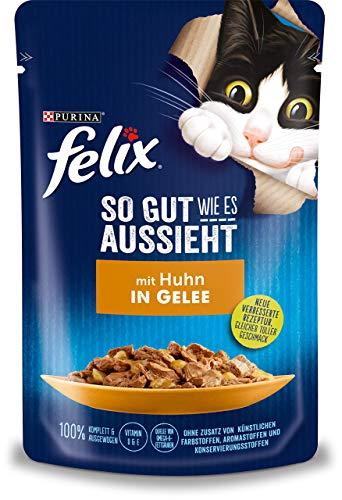 FELIX So gut wie es aussieht Katzenfutter nass in Gelee, mit Huhn, 26er Pack (26 x 85g)