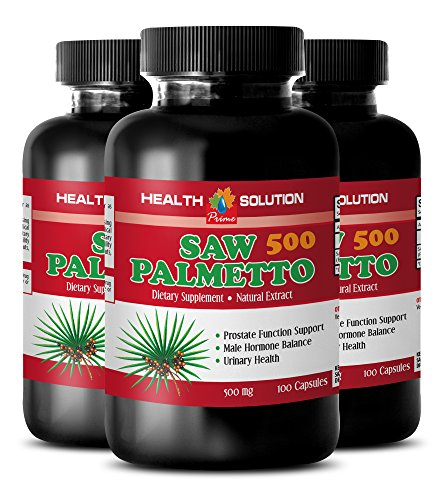 Natural Prostate Support Pills - Saw Palmetto 500 Mg - Saw Palmetto Best Seller - 3 Bottles 300 Capsules