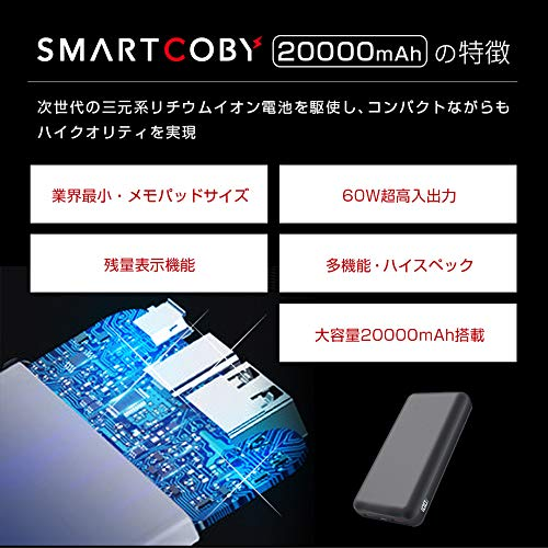 世界最小級 SMARTCOBY モバイルバッテリー PD 60W 大容量 20000mAh PD3.0 QC4+ QC3.0 VOOC 40W パススルー iPhone11 Galaxy Xperia Huawei AQUOS iPad Macbook Type-C USB-C アイフォン