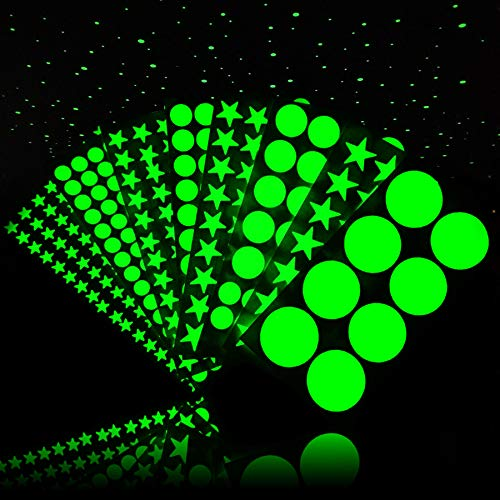 Glow in The Dark Stars for Ceiling, PVC Wall Stickers for Kids Bedroom Decor (8 Size, 501 PCS)