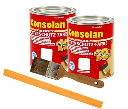 Consolan Wetterschutzfarbe deckend / 2x 0,75L weiss 201 / Holzschutzfarbe Holzfarbe bis zu 10 Jahre wetterbeständig für Holz und Zink Außen inkl. Pinsel & Rührstab