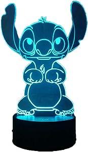 Laysinly Stitch LED Night Light, Lilo Stitch 7 Colors 3D Acrylic Table Lamp, Child Bedroom Sleeping Night Lamp Decor Light, USB Remote Control Home Desk Lamp, Baby Kids Teen Lighting (Stitch)
