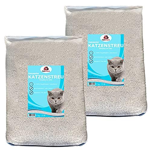 CatAmore 2 x 15 kg Katzenstreu Klumpstreu mit Babypuderduft staubarm