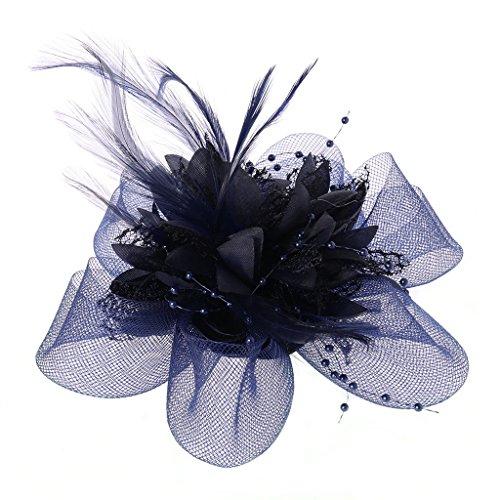 Lunji Bibi Mesh, Fascinator Mini Chapeau Femme Mariage Accessoires pour Cheveux (Bleu Royal)