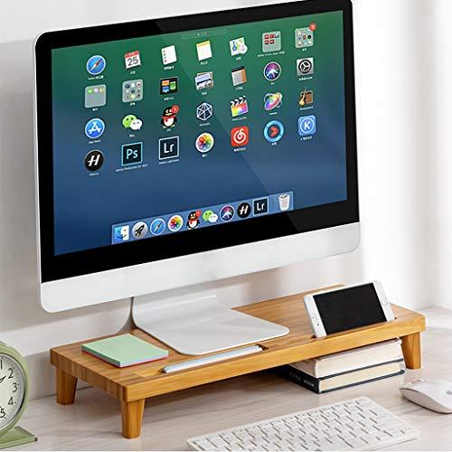 SUNDAY HOME Bamboo Monitor Stand Desk Organizer, Monitor de computadora Riser con Ranura de Almacenamiento, Escritorio organizadores y Accesorios PC Tower Stand (Color : Brown, Size : Small)
