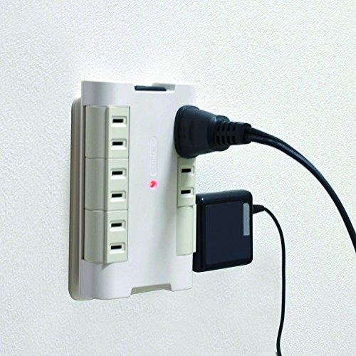 オーム電機『独立回転タップ雷サージ付き壁コンセント用(HS-A1251W)』