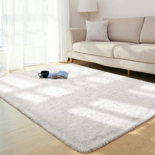 BENRON Soft Fluffy Area Rugs for Bedroom Kids Room Shag Furry Rug for Living Room Boys Girls Modern Plush Nursery Rugs Solid Accent Floor Carpet, 5x8 Feet Cream White