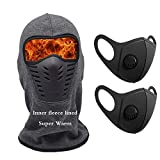 Balaclava Fleece Hood Winter Windproof Face Ski Mask for Mens Grey Ultimate Thermal Retention & Moisture Wicking with Performance Soft Fleece Construction for Cold Weather