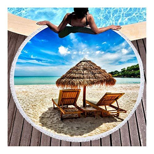 Vanzelu strandhanddoek, badhanddoek, digitale druk, 3D, rond kussen, grote grootte, 150 x 150 cm