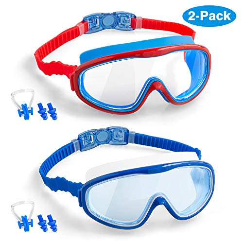 COOLOO Kids Swim Goggles, 2-Pack Wide Vision Swimming Glasses for Children and Early Teens from 4 to 15 Years Old, Wide Vision, Anti-Fog, Waterproof, Protection (Blue+Red)