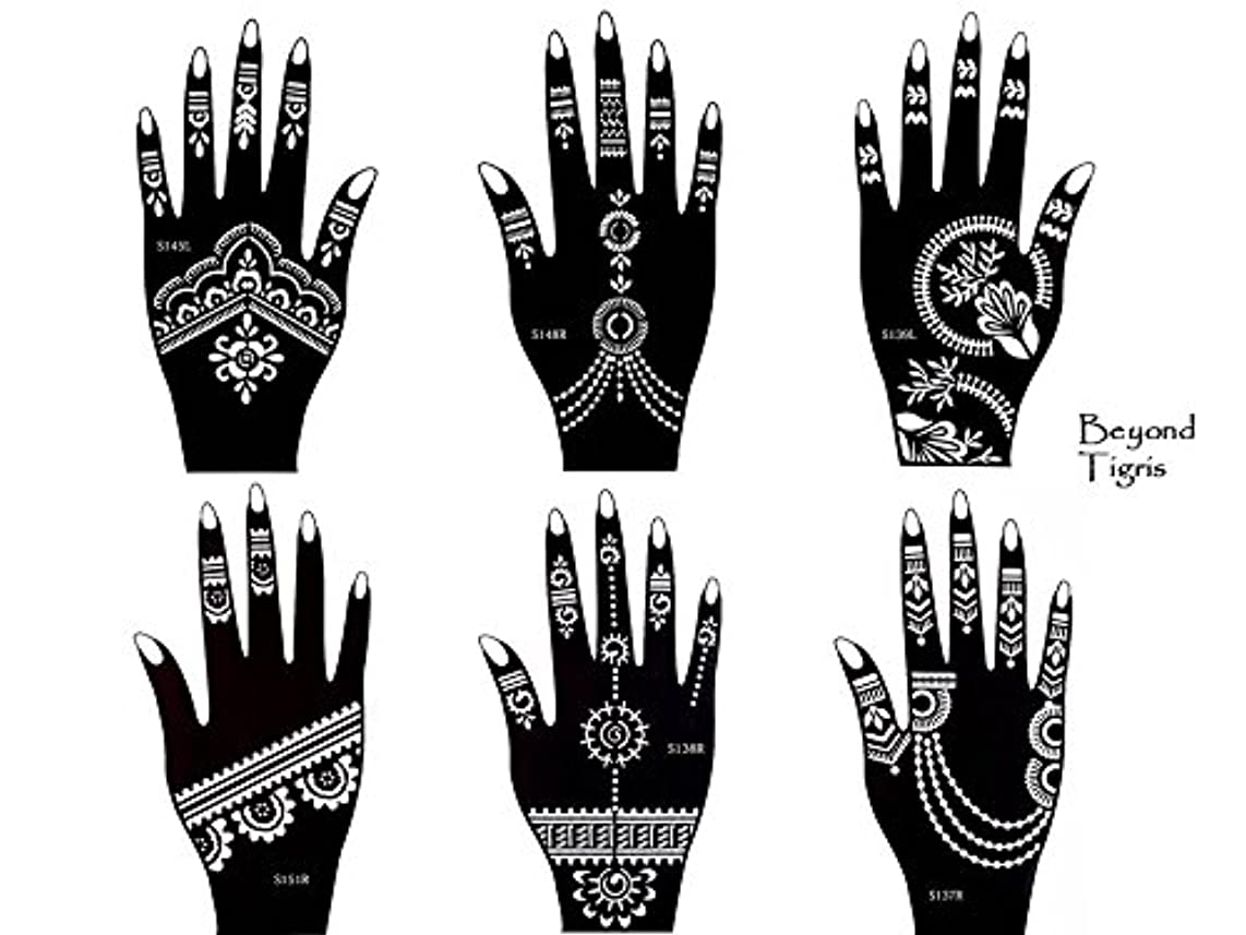 Tattoo Stencil Template Set of 6 different Sheets Henna Designs Suitable for Hand Tigris 6