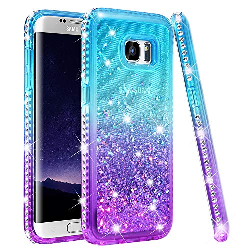 Ruky Samsung Galaxy S7 Edge Case, Colorful Quicksand Series Bling Diamond Sparkly Glitter Flowing Liquid Floating Soft TPU Women Girls Case for Samsung Galaxy S7 Edge (Teal Purple)