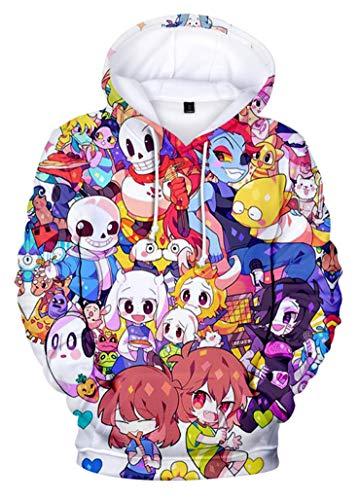 Unisex Sans Skull Hoodie Undertale 3D Printed Pullover Sweatshirt (A,S)