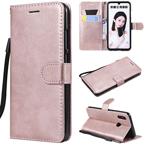 TGGT PU Schutzhülle Handytasche PU-Lederhülle Stoßfest Stander Kartenfach Magnetverschluss Wallet Case Kompatibel für Huawei P smart 2019 / Honor 10 Lite (Rotgold)