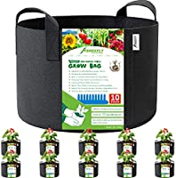 SHEEFLY 10 Pack 1 Gallon Grow Bags,Non Woven Durable Thickened Aeration Fabric Pots Container with Reinforced Handles for...