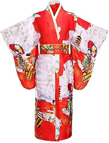 Dresses Black Woman Japanese Tradition Kimono Bath Robe with Obi Flower Vintage...