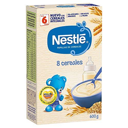 Nestlé Papilla 8 cereales - Alimento Para bebés - Paquete de 6x600...