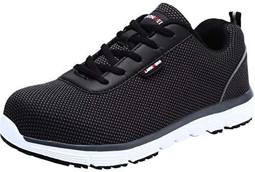 LARNMERN Zapatos de Seguridad Hombre Mujer Cómodas,L1027 SBP Zapatillas de Trabajo con Punta de Acero Ultraligero Transpirables(46 EU,S1 Negro Blanco)