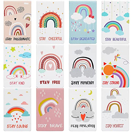 12 Pieces Rainbow Magnetic Bookmark Inspirational Magnetic Bookmarks Magnet Page Markers Positive Magnetic Book Marker for Students Teachers School Home Office Supplies, 12 Styles