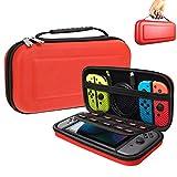 Oihxse Funda para Nintendo Switch, Estuche Portátil Dura Proteger Consola Nintendo Switch, Juegos, Joy-con y Carcasa Ajustable Transporte 10 Cartuchos de Juegos (Rojo)