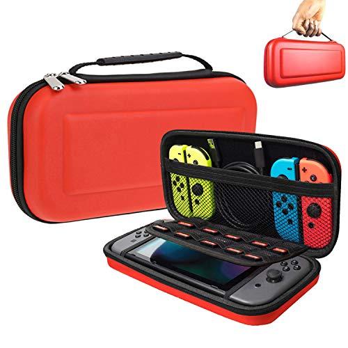 Suhctup Funda para interruptor, con 10 soportes de cartucho de juego, funda protectora portátil de viaje para consola Nintendo Switch y accesorios (rojo)
