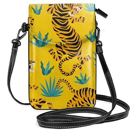 Amarillo Tiger Tropical Pattern Ligero Pequeño Crossbody Bolsas de teléfono celular Monedero para mujeres y niñas con práctico transporte