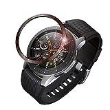 Fintie Samsung Galaxy Watch 46mm / Gear S3 ベゼルリング 保護ベゼルカバー 傷防止ベゼル 粘着カバー ステンレス製 高級感 耐久性 装着簡単(ブラック/レッド)